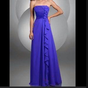 BARI JAY BELLA CHIFFON BRIDESMAID DRESS W/RUFFLE